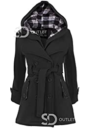 SD Ladies Belted Button Coat Hood Jacket Womens Plain Hooded Jackets Coats 8-14