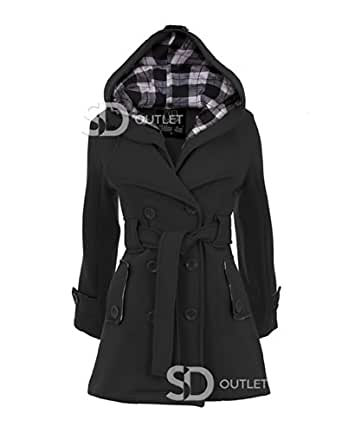 Ladies Belted Button Coat Black Size 8