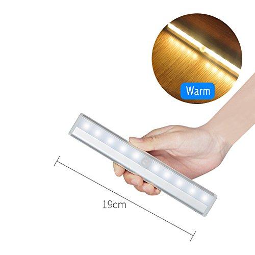 GreenSun 10LED Schrankbeleuchtung PIR Infrarot Licht Bewegungs Sensor Nachtlichter Warmweiß 4 Stück AAA-Batterien (nicht enthalten) aufklebend Wand-drahtlose Infrarot Bewegungs-aktivierte Lampe LED-Nachtlicht-Beleuchtung für Wandschrank-Schrank-Schrank-Treppenhaus-Flur-Waschraum (Led-belegungs-sensor-licht)