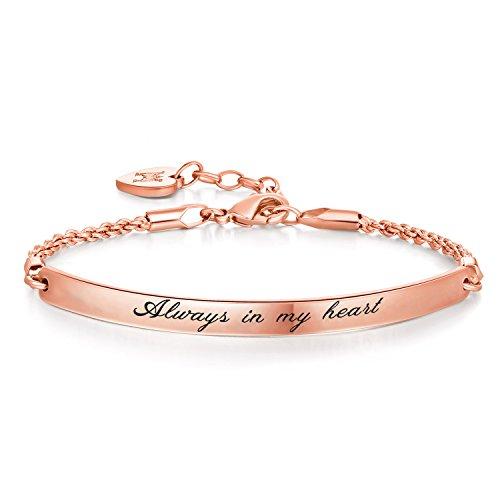 """Bracelet Jonc avec Gravure Message – """"Always in my heart"""" –Plaqué Or Blanc – Phrases d'Inspiration – Tendance, Moderne et Élégant – Femme et Jeune Fille"""