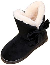 Bottes Femme Hiver SHOBDW Bottines Chaud Bowknot Neige Automne Noir Marron  Chaussures c965cc15cac1