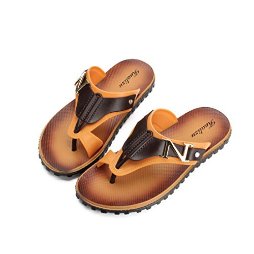 Men's Goosegrass Sole Leather Flip Flops Slippers B