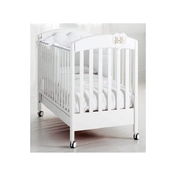 White Baby Expert His & Hers Bed Silver BABY EXPERT Wooden Baby Cot Cot with water-based paint 1