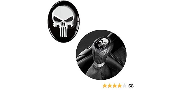 Skinoeu 1 X Schalthebel Aufkleber Oval Schaltknauf Emblem 30 X 38mm Silikon Sticker Punisher Skull Schädel Totenkopf Auto Moto Zubehör Tuning Jdm S 30 Auto