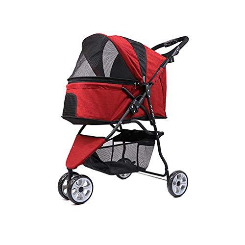 Pet stroller Kinderwagen - 3-Rad, großer, um 360 Grad drehbarer Hund/Katze-Kinderwagen für 20 kg Gewicht mit Sicherheitspausen, Netzfenstern und Reiseutensilien für Taschen (Color : Red)
