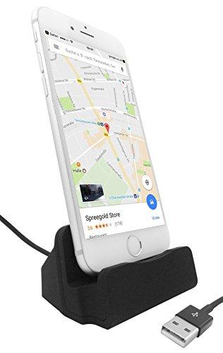 THEVERY® Design- Dockingstation für iPhone 5 5s SE 6 6s 6plus 7 7plus iPad mini - Ladestation Lightning Dock Ladegerät Desktop-Dock Ladehalterung Ladeschale Schreibtisch Halter Ständer Cradle Dock MiniDock - schwarz
