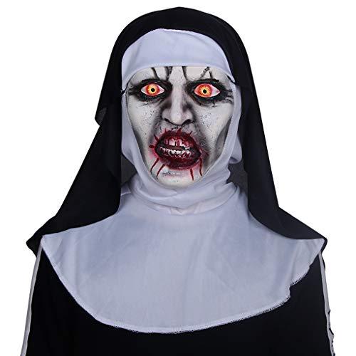 Máscara de Halloween, máscara de Monja de Terror, mueca Máscara de látex de Miedo de Halloween - Mascarada