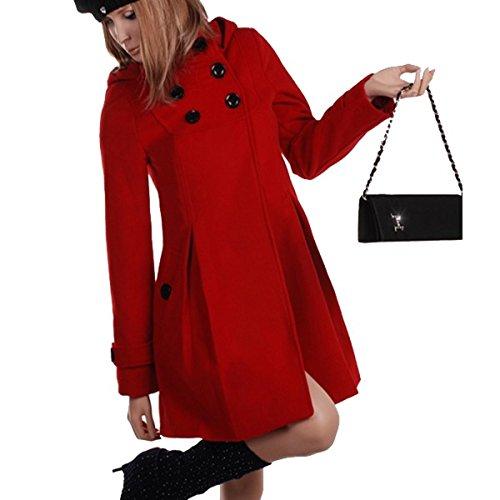 Laeticia Dreams Damen Mantel mit Kapuze Jacke XS S M L XL XXL, Farbe:Rot;Größe:40