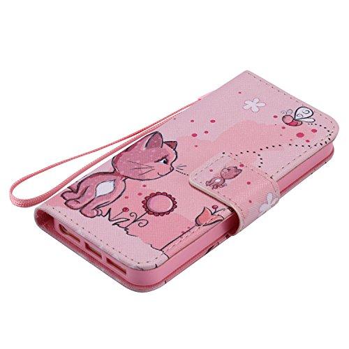 Feeltech iPhone 5/5S/SE Hülle PU-Leder und Brieftasche Bunte Muster Fall mit Magnetverschluss, Hybrid-Kickstand mit Stand-Funktion, schlagen Sie schützende weiche TPU Stoßstangenabdeckung und Kreditka Rosa Katze