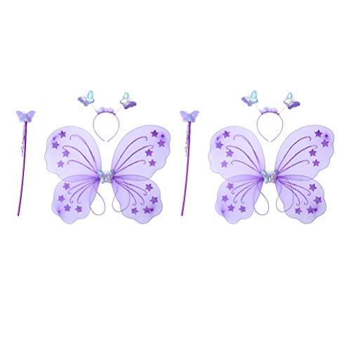 Schmetterlingsflügel Muster Kostüm - Amosfun 6 Stück MädchenFeeKostümPrinzessinSchmetterlingsflügelHaarreif ZauberstabKinderFeenstab PartyVerkleidungenSet (Lila)
