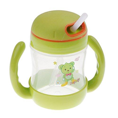 Homyl Babyflasche Kinderflasche Trinkhalmbecher mit Doppelgriff Trinklernbecher Baby Kleinkind Flasche Wasser Trinken Lerne - Stil 1-Grün