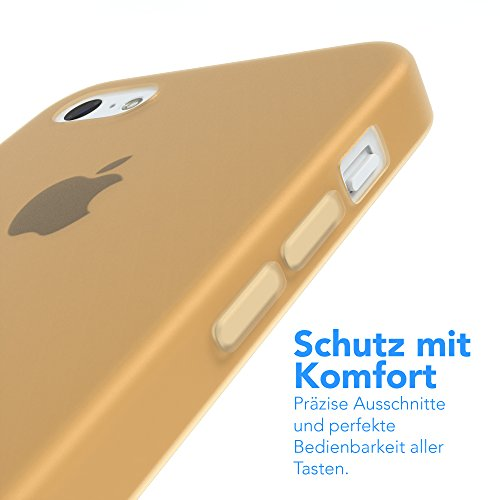 "Apple iPhone 5C Hülle, EAZY CASE Ultra Slim Cover ""Clear"" - Premium Handyhülle Transparente Schutzhülle, Smartphone Case in Transparent Matt Gold"