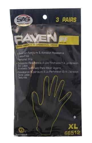 SAS Safety 66512 Raven Powder-Free Nitrile Gloves, X-Large, 3 Pack by SAS Safety