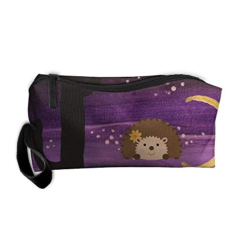 Cute Cartoon Hedgehog Makeup Bag/Travel Cosmetic Bag/Brush Pouch Case With Zipper Carry Case