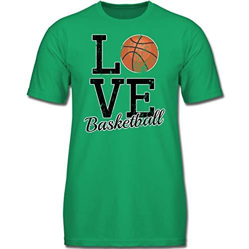 Sport Kind - Love Basketball - 140 (9-11 Jahre) - Grün - F130K - Jungen Kinder T-Shirt