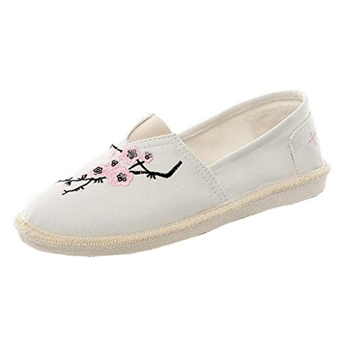 Binying Espadrilles Femme Broderie Bout Rond Plat a Enfiler Toile Blanc