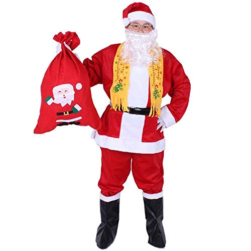 Classic Santa Kostüm - CN Weihnachten Kostüm Weihnachten Kostüm Für Erwachsene Luxus Plüsch Classic Santa Kostüm Herren Cosplay,rot,Einheitsgröße