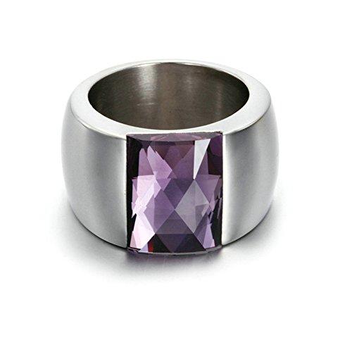Beydodo Damen-Ring Edelstahl mit AAA Zirkonia LilaFreundschaftsing Ehering Silber Größe 60 (19.1) (Medusa Kostüm Bilder)
