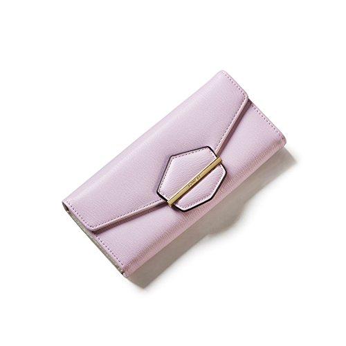 PU Piega Lunga Pelle moda donna Portafoglio borsa Ecopelle Wallet raccoglitore Pocket Portamonete Porpora
