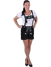 Almwerk Damen Trachten Lederhose Modell Blümli in braun, schwarz, rot und grün