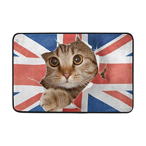 Ahomy Wive Katzenloch in Großbritannien-Flagge, Teppich, Fußmatte, saugfähig, Rutschfest, weich, für Wohnzimmer, Schlafzimmer, Küche, 60 x 40 cm