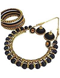 Sarpi Crafts Golden & Black Silk Thread Necklace Set For Women