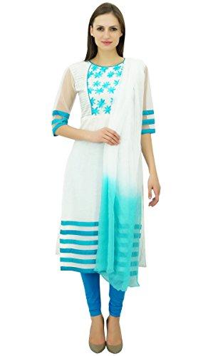 Atasi Women's White and Blue Straight Salwar Kameez With Dupatta Suit Sets (Salwar Dupatta Kameez)