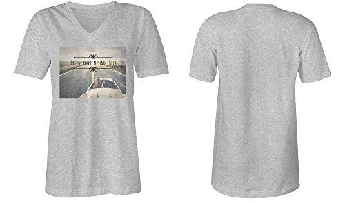 Die Gedanken Sind Frei 6 ★ V-Neck T-Shirt Frauen-Damen ★ hochwertig bedruckt mit lustigem Spruch ★ Die perfekte Geschenk-Idee (05) grau-meliert