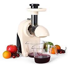 Klarstein Fruitpresso MK II Moreno extracteur de jus basse vitesse (pour jus de fruit frais vitaminés, conservation des vitamines, puissance de 150W, 2 vitesses, 80 tours/min) - crème