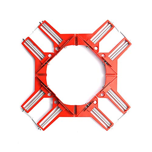 HEWEGO 4 Pieces 90 Degree Right Angle Corner Holder Clamp, Multifunctional Picture Framing, Woodworking Hand Tools (Red)
