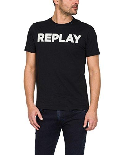 Replay Herren M3594 .000.2660 T-Shirt, Schwarz (Black 98), Large