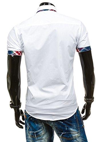BOLF �?Camicia casual �?Manica corta �?Uomo - Motivo 2B2 Bianco