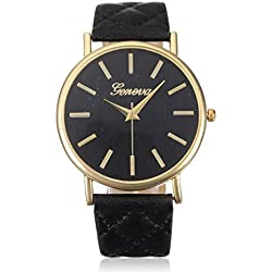 Oyedens Fashion Unisex PU Leather Analog Quartz WristWatch Black