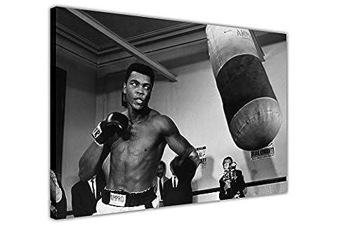 Muhammad Ali Pendant l'entraînement Noir et Blanc Impression sur toile 40x boxe Sport Photos