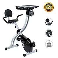 Exercise Bike, Folding Fitness Bike with Desktop Sporting Equipment Cardio Trainer 8 Level Magnetic Resistance Transport Wheels and Backrest Adjustable Seat LED Monitor Heart Rate