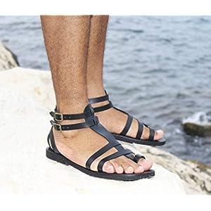 Fascination – Männer Gladiator Sandalen/Handgefertigte Lederschuhe/Römischen Griechischen Stil Sandalen