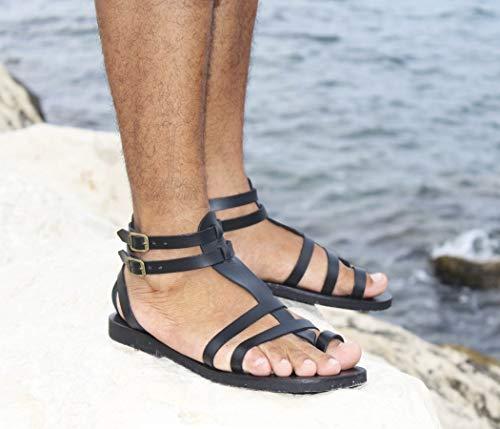 Fascination - Männer Gladiator Sandalen/Handgefertigte Lederschuhe/Römischen Griechischen Stil Sandalen