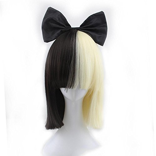 SIA Style Wig Black And Light Gold Mixed Color Fashion Popular Bow Tie