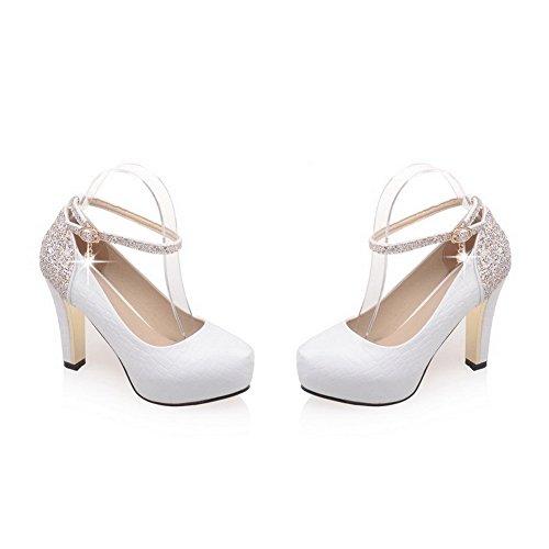 VogueZone009 Femme Fermeture D'Orteil à Talon Haut Rond Boucle Pu Cuir Couleur Unie Chaussures Légeres Blanc