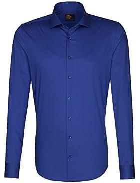 SEIDENSTICKER Herren Hemd Slim 1/1-Arm Bügelleicht Uni / Uniähnlich City-Hemd Hai-Kragen Manschette weitenverstellbar