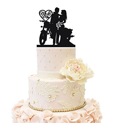 Uniquemystyle Hochzeit Clock Company Tortenaufsatz Paar mit 2Kids Motorcycle (Black)