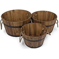 Jardinera, maceta de madera de acacia, tina de madera en juego de 3 piezas, barril de madera como tiesto para el jardín, cubo de madera by Park Alley