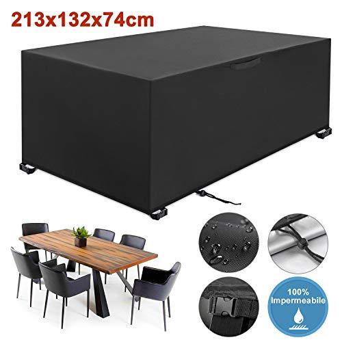 yissvic copertura tavolo giardino copertura tavolo esterno 213×132×74cm copertura della mobilia 420d panno oxford protezioni del patio anti-uv impermeabili in tessuto (4-10 posti)