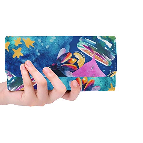 rdefinierte abstrakte märchen zauber Flasche Frauen Trifold Brieftasche Lange geldbörse kreditkarteninhaber Fall Handtasche ()