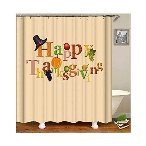KnSam Anti-Schimmel Wasserdicht Duschvorhang Inkl. 12 Duschvorhangringen Happy Thanksgiving Mit Früchten Vorhänge An Badewanne Bad Vorhang für Badezimmer 150 X 200 cm