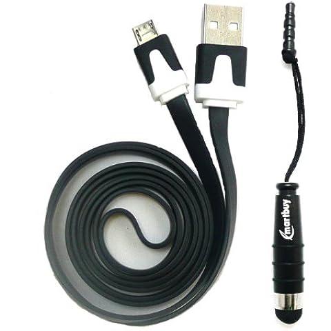 Emartbuy Duo Paquete para LG U - Negro Mini Lápiz Óptico + Negro Plano Anti-enredo Micro USB datos & Cable Cargador