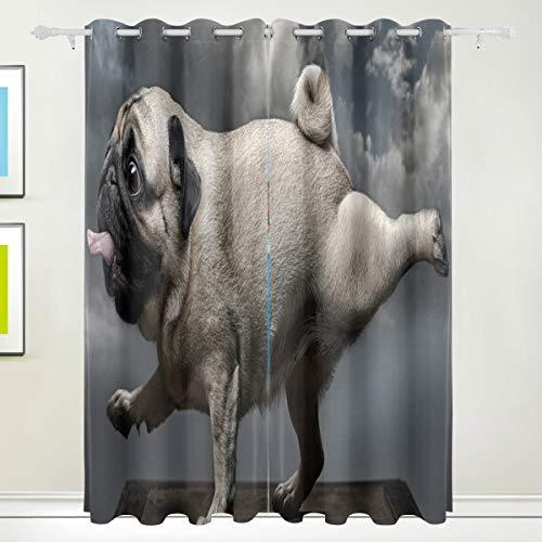 XiangHeFu Morden Blackout Vorhänge mit Tülle Oben lustige Hund Mops Yoga Vorhänge Set 2 Panels, jeweils 55W x 84L Zoll für Home Living Bedroom Schlafzimmer (84-zoll-dusche Vorhang Braun)