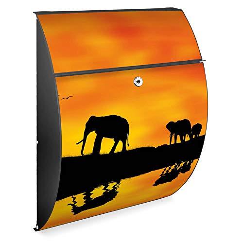 Burg Wächter Design Briefkasten | Modell Riviera 46cmx33,5cmx13cm groß | verzinkter Stahl Anthrazit | Postkasten mit Öffnungsstopp, großer A4 Einwurf, Zylinderschloss, 2 Schlüssel | Motiv Afrika