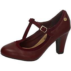 XTI , Damen Pumps, rot - burgunderrot - Größe: 39