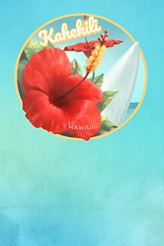 b3cfe720991c Kahekili Hawaii: Cute Red Hibiscus Surfing Beach And Surfboard Dotted Grid  Bullet Journal Notebook - 100 pages 6 x 9 inches Log Book